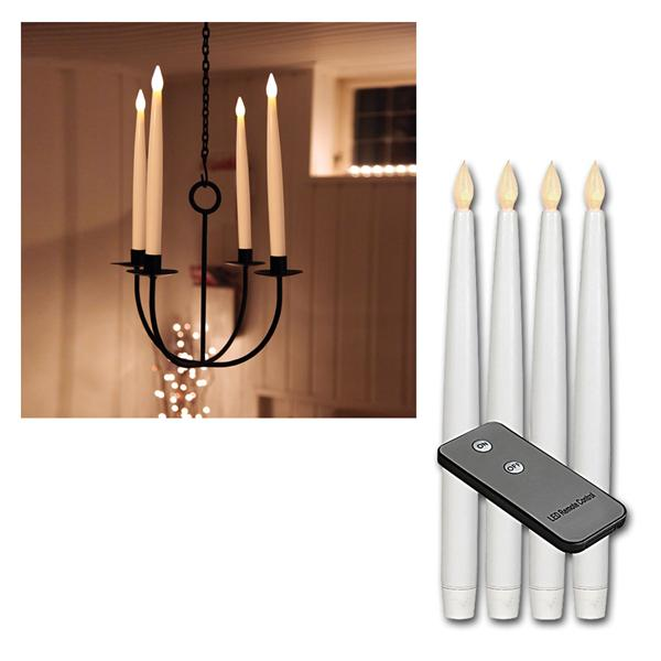 4er Set LED Stab-Kerzen weiß, Fernbedienung 29x2cm