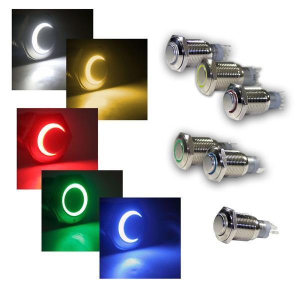 Druck-Schalter Metall, 230V/3A, Beleuchtung-Ring