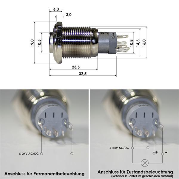 Anschlussskizze für Druckscaltr als Schließer/Öffner