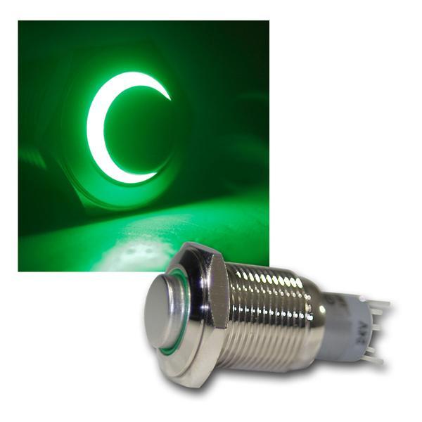 Taster Vollmetall, 230V/3A, Beleuchtung Grün
