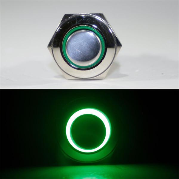 1-poliger Taster mit grüner LED Ringbeleuchtung