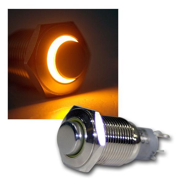 Taster Vollmetall, 230V/3A, Beleuchtung Gelb