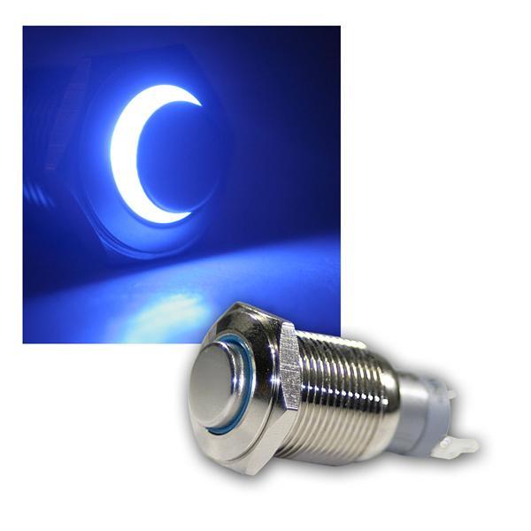 Taster Vollmetall, 230V/3A, Beleuchtung Blau