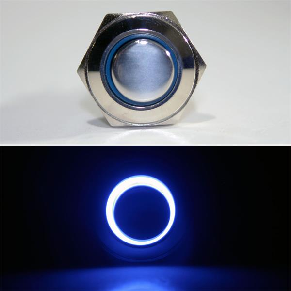 1-poliger Taster mit blauer LED Ringbeleuchtung