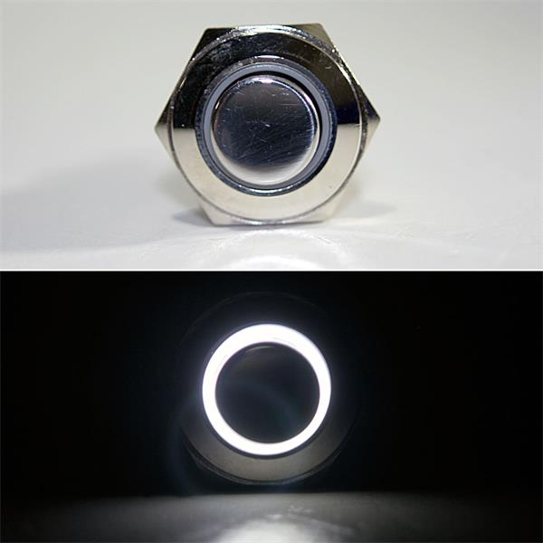1-poliger Taster mit weißer LED Ringbeleuchtung