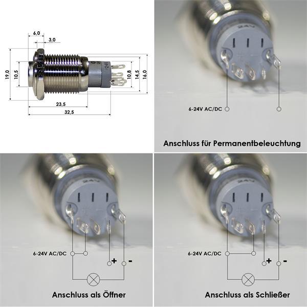 Anschlussbelegung für 1-poligen Metalltaster