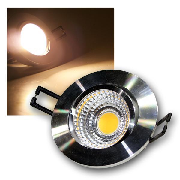 LED Einbauleuchte COB-5 silber 5W 350lm warm weiß