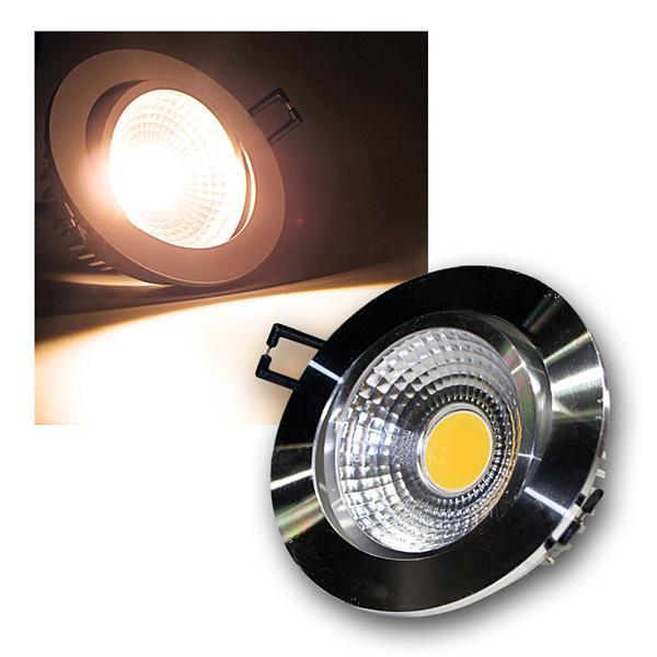 LED Einbauleuchte COB-7 silber 7W 450lm warm weiß