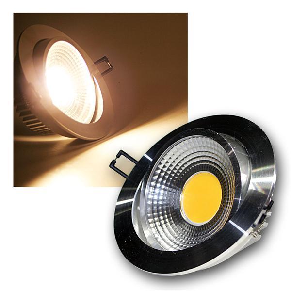 LED Einbauleuchte COB-10 silber 10W 600lm warm weiß