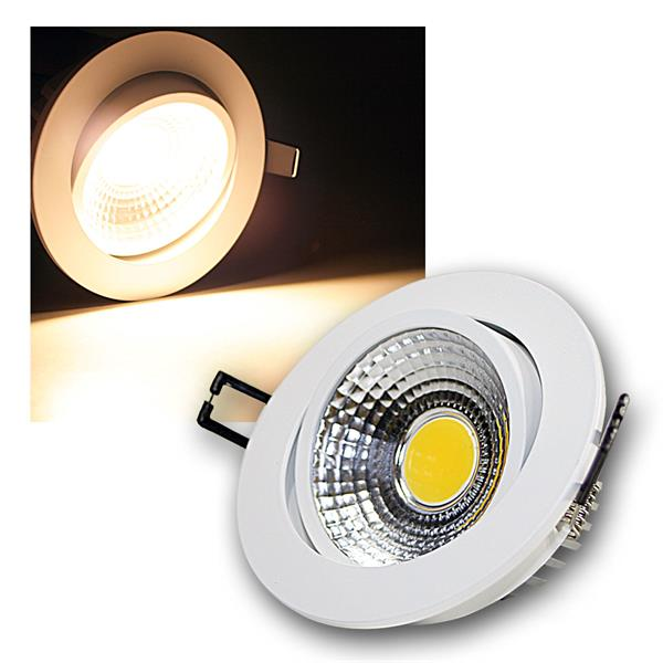 LED Einbauleuchte COB-7 weiß 7W 450lm warm weiß