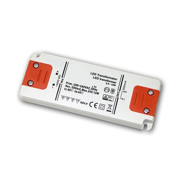 Slim LED Trafo Konstantstrom 500mA, 0,5-12W / 24V
