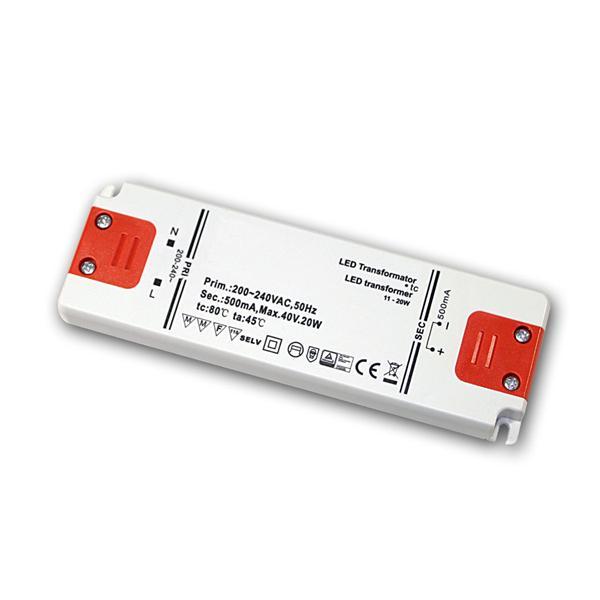 Slim LED Trafo Konstantstrom 500mA, 11-20W / 40V