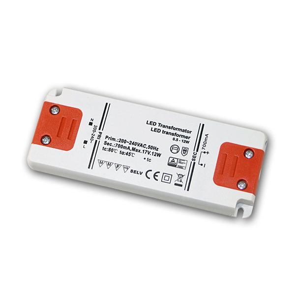 Slim LED Trafo Konstantstrom 700mA, 0,5-12W / 17V