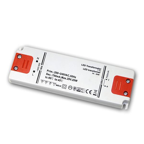 Slim LED Trafo Konstantstrom 700mA, 10-20W / 29V