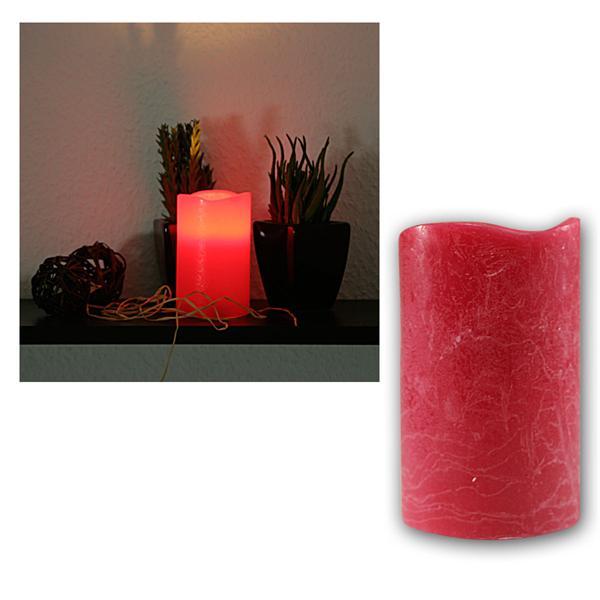 LED Echtwachs-Kerze mit Timer, rot, 12,5x7,5cm