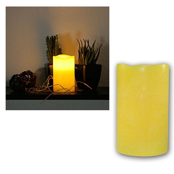 LED Echtwachs-Kerze mit Timer, gelb, 12,5x7,5cm
