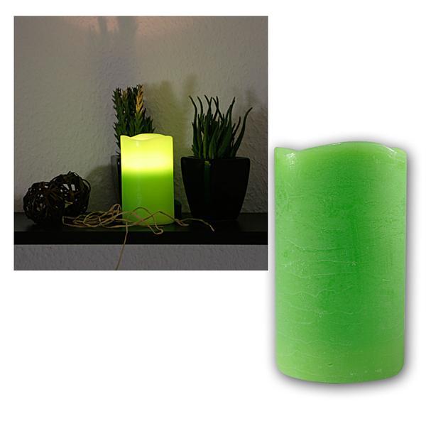 LED Echtwachs-Kerze mit Timer, grün, 12,5x7,5cm