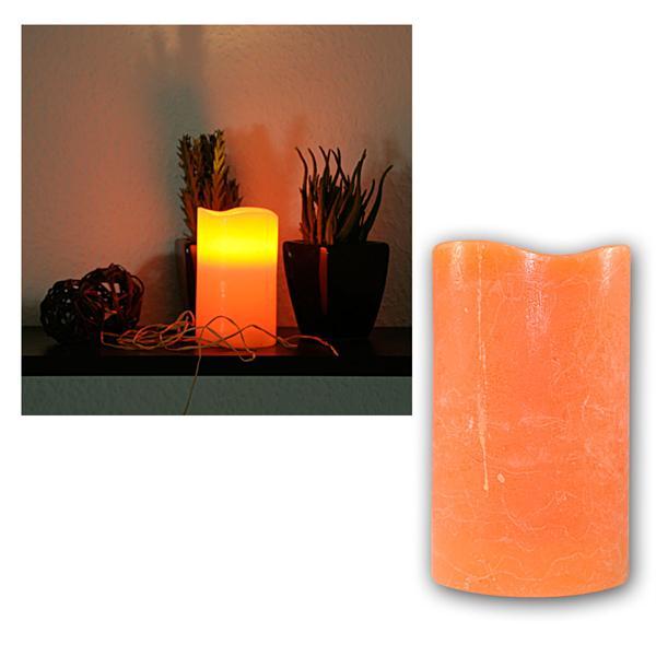LED Echtwachs-Kerze mit Timer orange, 12,5x7,5cm