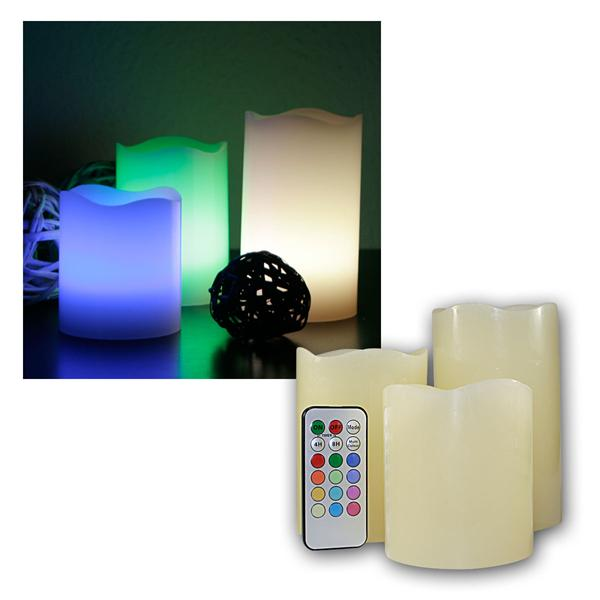 3er Set LED Kerzen RGB mit Fernbedienung / Timer