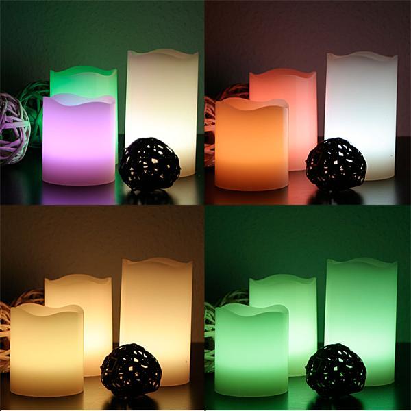 LED Stumpenkerze mit raffinierten Farbeffekten