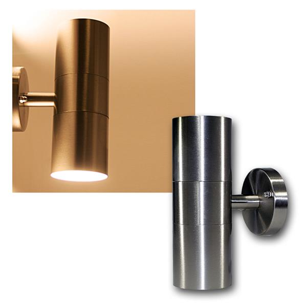 LED Wandleuchte Edelstahl 2-flammig warmweiß