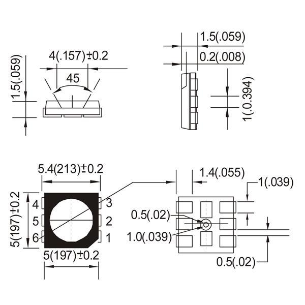 Abmessungen der SMD HighPower LED 5050