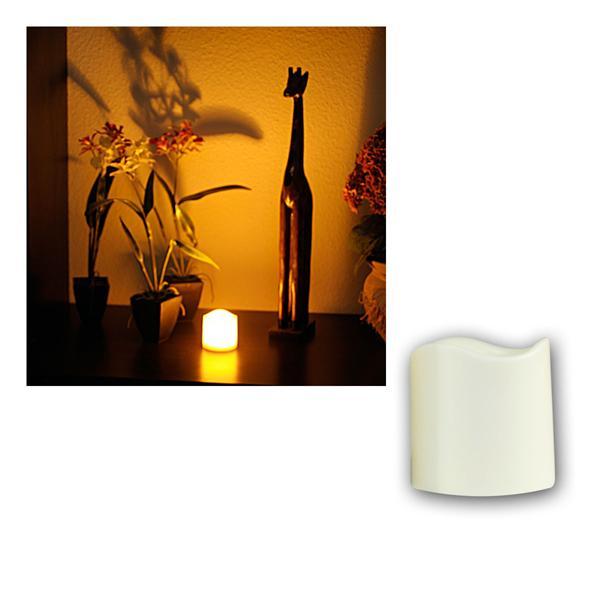 LED Kerze, Höhe 7,5cm mit Timer, Ø7,5cm, für Außen