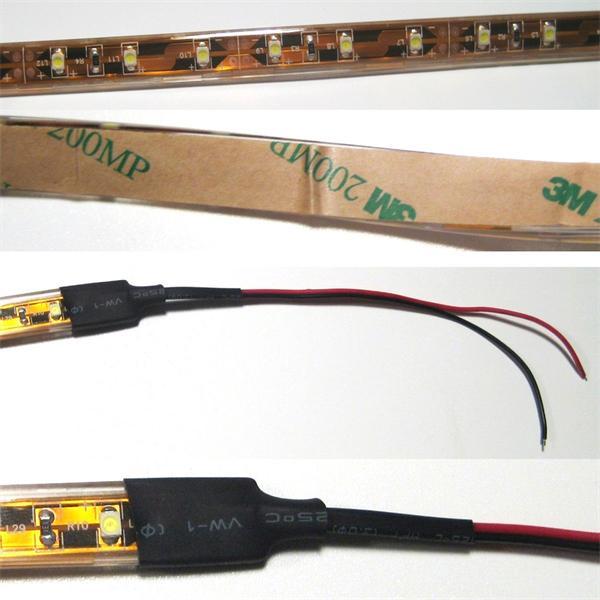 LED Streifen ist bis auf 360° biegbar und mit Befestigungsklebeband