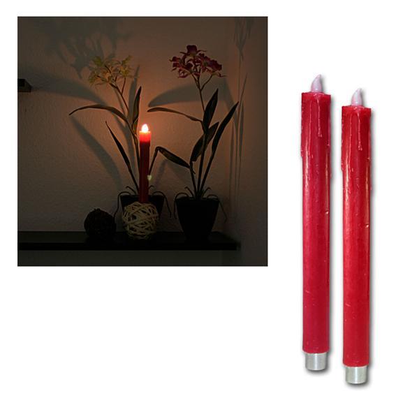 2er Set LED Wachs-Stabkerzen rot, 27cm, warmweiß