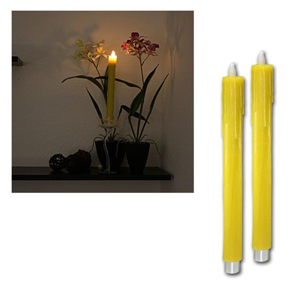 2er Set LED Wachs-Stabkerzen gelb, 27cm, warmweiß