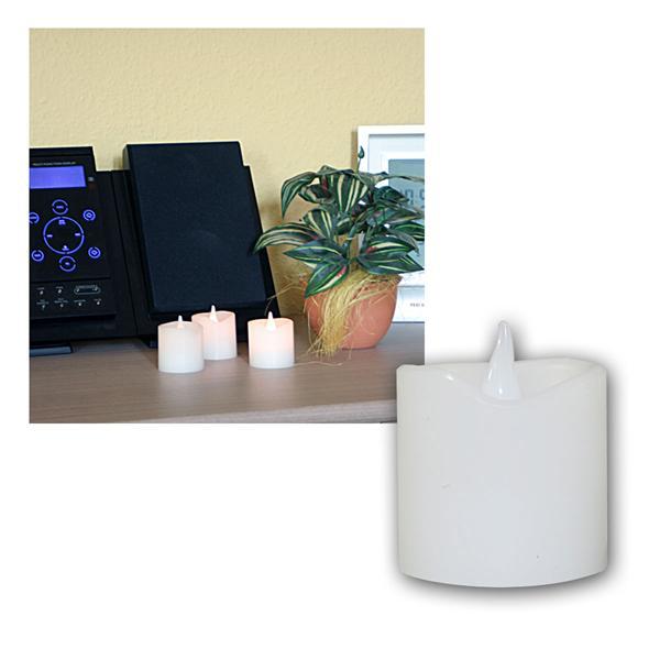 3er Set LED Wachskerzen, 6x5cm, weiß