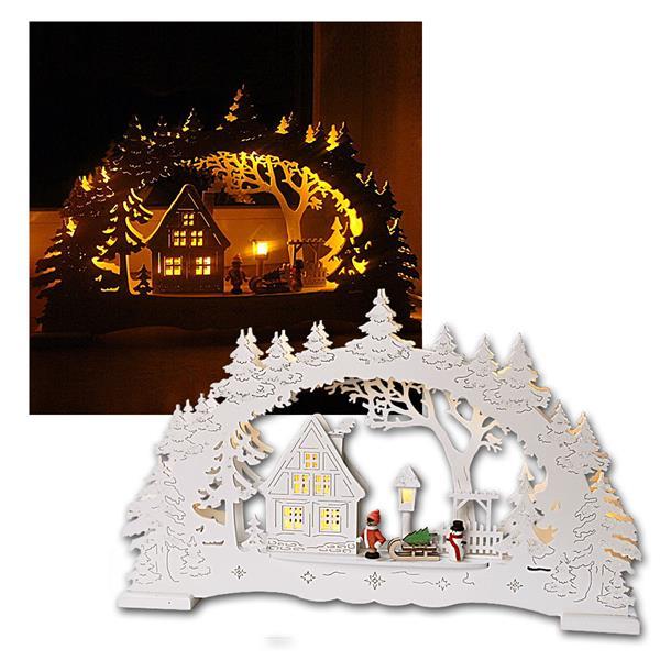 """Lichterbogen """"Village"""" Holz weiß, 10 LED warmweiß"""