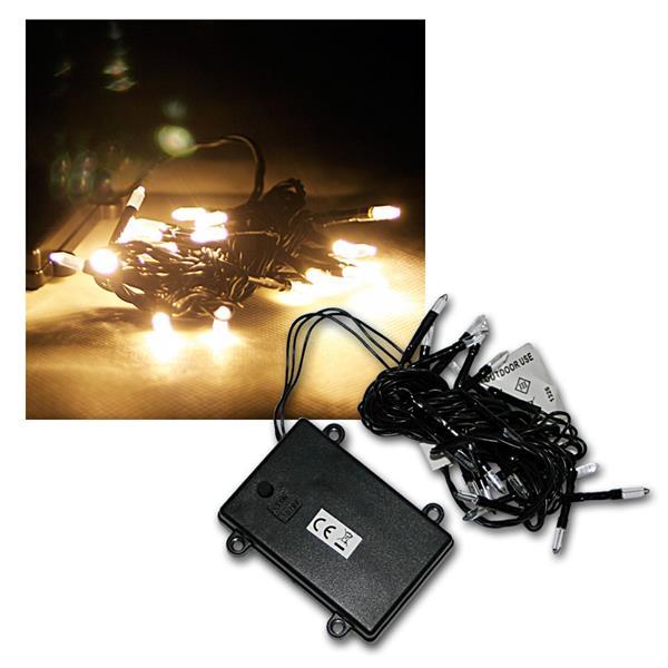 LED Batterie-Außen-Lichterkette, 24 LEDs warmweiß