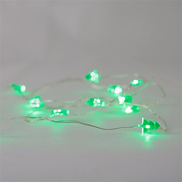Grün leuchtende Drahtlichterkette mit 12 kleinen Tannenbäumen