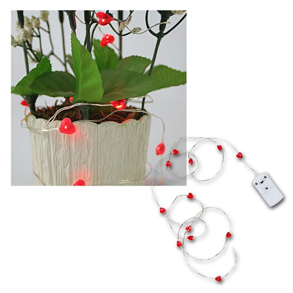 "LED Batterie-Lichterkette ""String"" 12 rote Herzen"