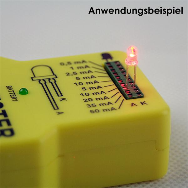 LED Testgerät mit Kontaktösen für LED Anschluss