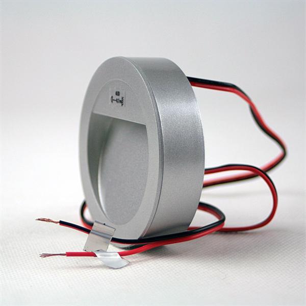 LED Einbauspot rund in einem alu-silber farbigen Kunststoffgehäuse