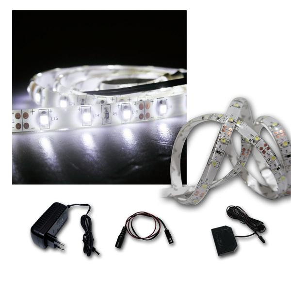 LED Lichtband Set 5x1m kaltweiß + Trafo SMD-Stripe