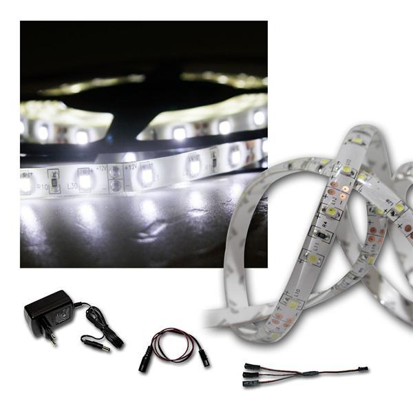 LED Lichtband Set 2x 2,4m kaltweiß + Trafo, Stripe