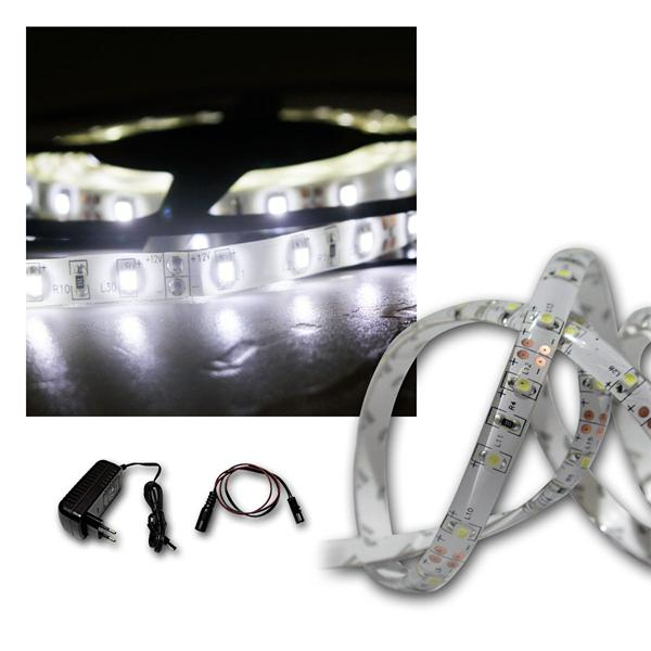 LED Lichtband Set 5m kalt-weiß + Trafo, SMD-Stripe