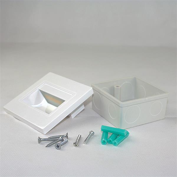 LED Einbauspot weiß eckig mit Einbaurahmen und Befestigungsmaterial