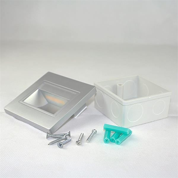 LED Einbauspot silber eckig mit Einbaurahmen und Befestigungsmaterial