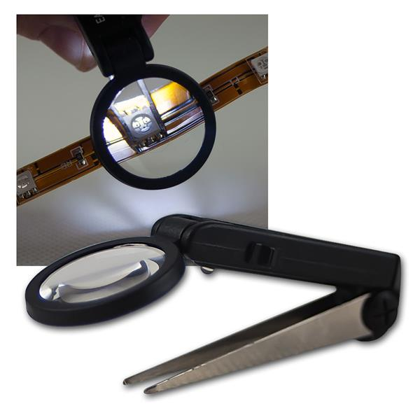 Pinzette mit Lupe u LED-Beleuchtung, Lupenpinzette