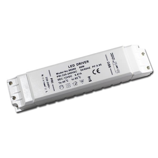 80W LED Transformator, max. 6,67A 12V DC, Trafo