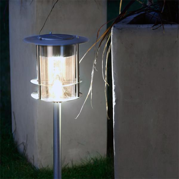 Warmweiß-leuchtende Edelstahl-Lampe