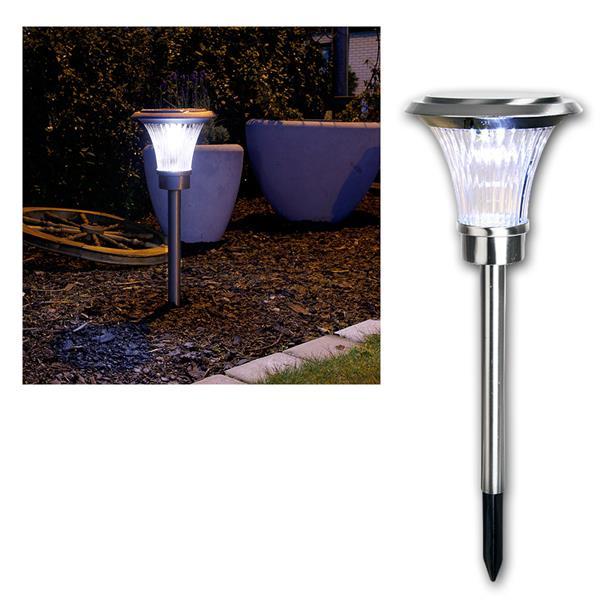 LED Solar-Wegeleuchte Edelstahl 62x20cm, warm 28lm
