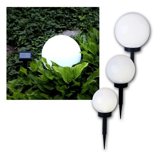 3er Set Solar-Kugel weiß, LED warmweiß, Solarpanel