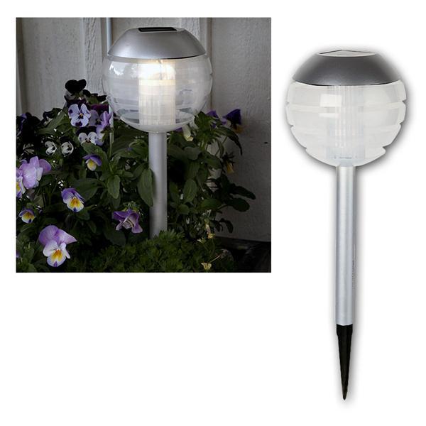 solar wegeleuchte silber grau ball warmwei led. Black Bedroom Furniture Sets. Home Design Ideas