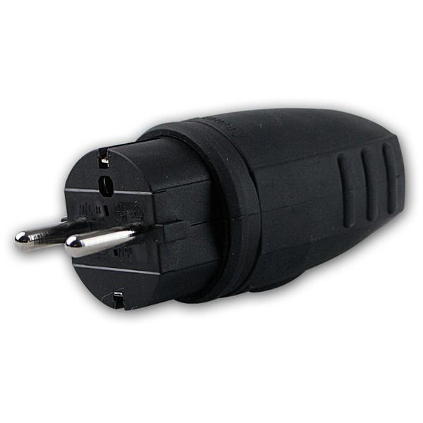 Schutzkontakt Gummi-Stecker schwarz IP44, 250V/16A