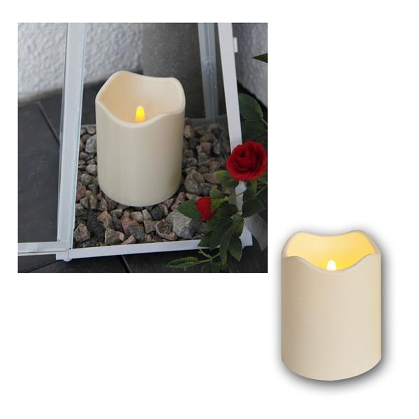 LED Kerze, Höhe 12,5cm mit Timer, Ø10cm, für Außen